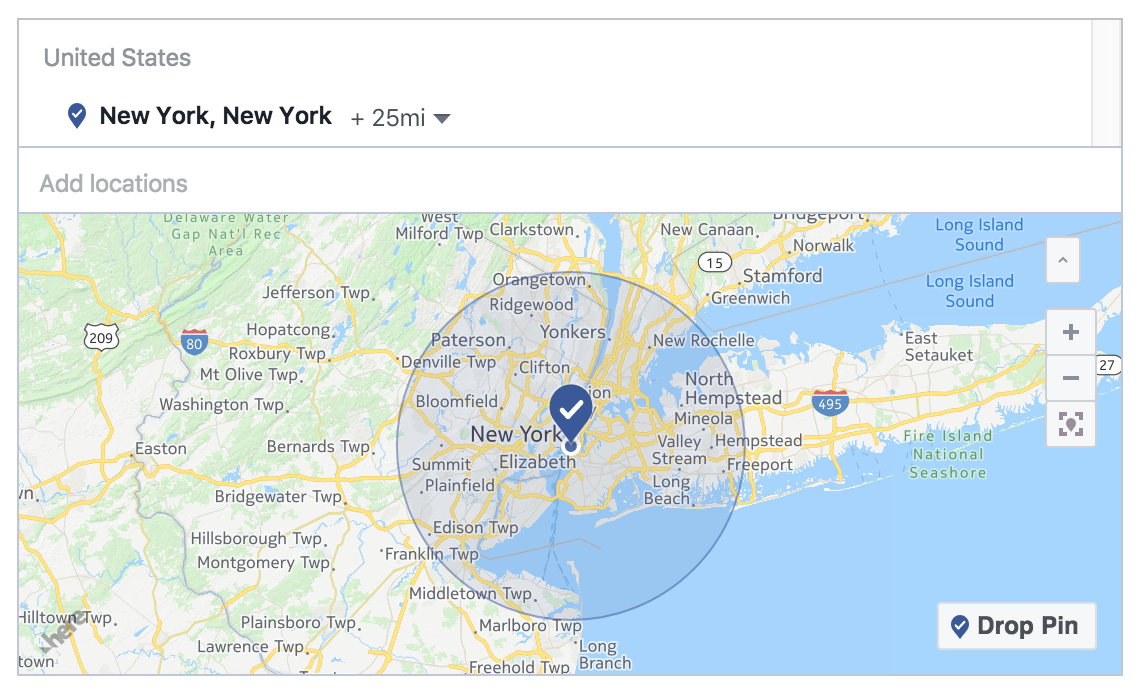 Facebook location filter